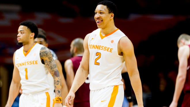 Tennessee forward Grant Williams (2) smiles in celebration during a game against South Carolina this season.