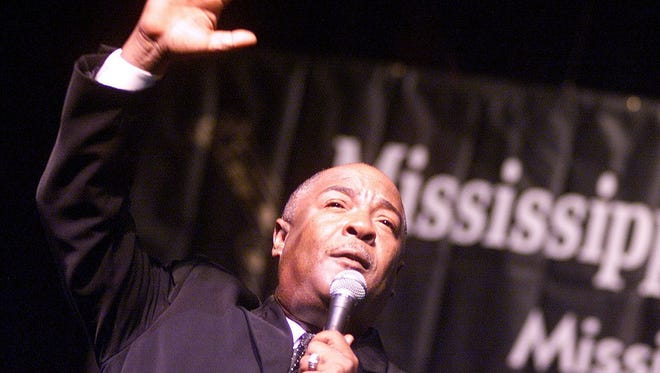 Harvey Watkins, Jr., lead singer of the Canton Spirituals, performs with the group during the 2003 Mississippi Musicians Hall of Fame Induction Awards Ceremony.