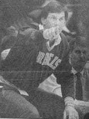 Ronnie Kaiser is shown coaching Pineville during the Class AAA state championship basketball game against Peabody in 1990.