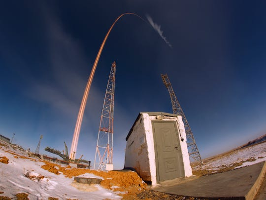 In this photo taken with long time exposure the Soyuz-FG