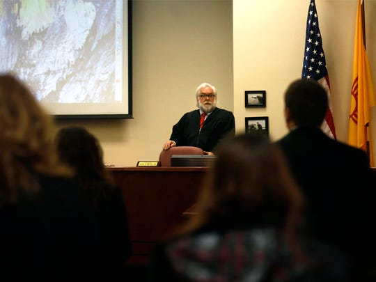 Judge John Dean addresses the court on Friday before the start of Cody Soto's trial on a murder charge at the Eleventh Judicial District Court in Aztec.