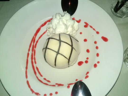 Desserts include this sorbet with white chocolate.