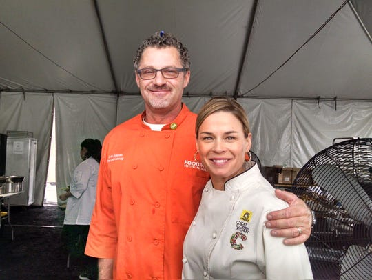 Scott Robertson of New Leaf Catering with chef Cat