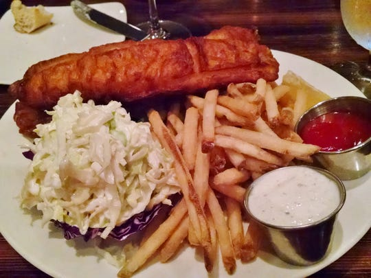 Beer-battered fish and chips at The Grill.