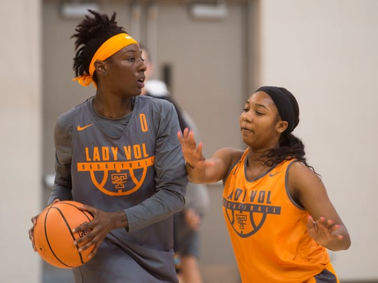 Tennessee guard Anastasia Hayes (1) defends teammate guard Rennia Davis (0) during the Lady Vols first official preseason practice at Pratt Pavilion on Tuesday, Oct. 3, 2017.