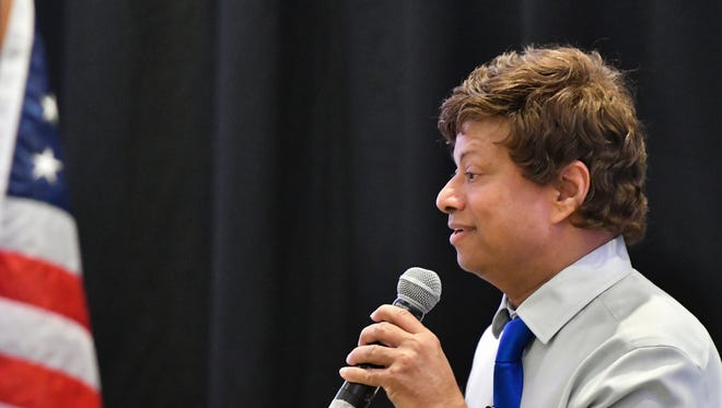 Democratic gubernatorial candidate Shri Thanedar speaks during the 2018 Annual Convention Gubernatorial Forum in East Lansing, Mich., Thursday, May 10, 2018.