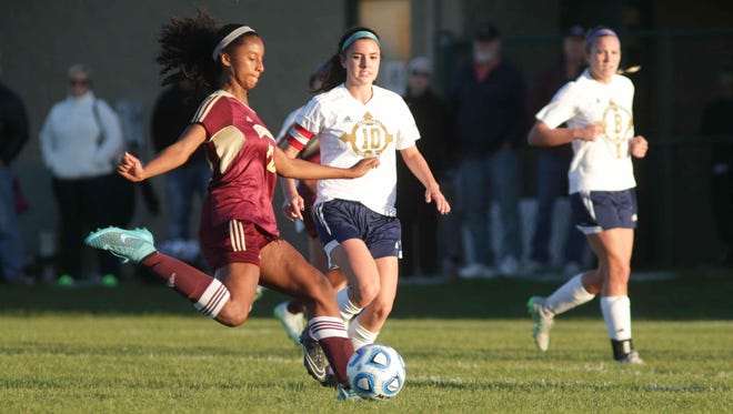 Brebeuf Jesuit's Ryanne Brown helped the Braves defeat Cathedral in sectional play Oct. 14, 2015.