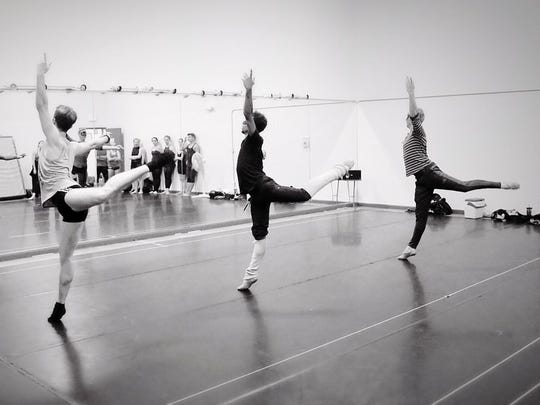 "From left to right: Oliver Adams (Mercutio), Ihosvany Rodriguez (Romeo) and Vasily Lunde (Benvolio) in rehearsal for SNB's ""Romeo and Juliet-The Ballet."""