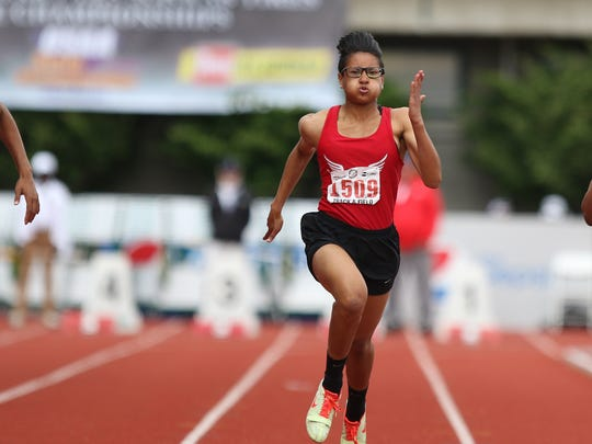 North Salem's Rebekah Miller (center) won the 6A state championship in the 100-meter dash last season, and is having a strong season this year.