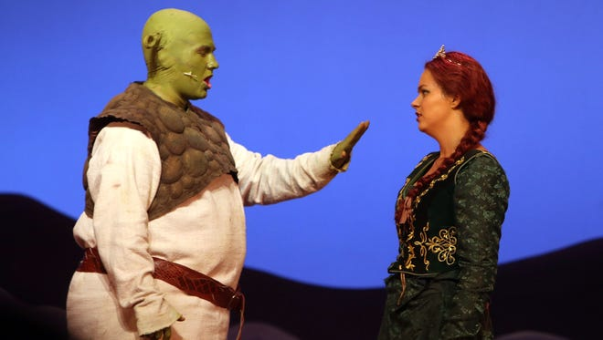 """Brewster High School's production of """"Shrek the Musical"""" garnered 15 nominations for the 2015 Metropolitan High School Theater Awards, which will be handed out June 1 at Archbishop Stepinac High School in White Plains. Andrew Gordon, left, and Sydney Gershon were nominated for actress and actor in a leading role, and for outstanding duet."""