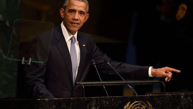 US President Barack Obama speaks at the 70th session of the United Nations General Assembly September 28, 2015 at the United Nations in New York. AFP PHOTO/DON EMMERTDON EMMERT/AFP/Getty Images