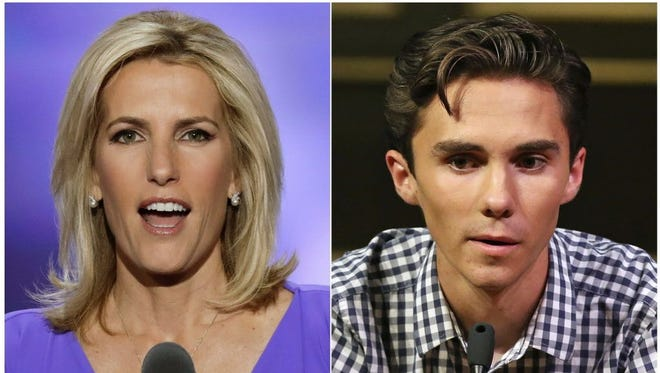 Fox News personality Laura Ingraham speaks at the Republican National Convention in Cleveland on July 20, 2016, left, and David Hogg, a student survivor from Marjory Stoneman Douglas High School in Parkland, Florida, speaks at a rally for common sense gun legislation in Livingston, New Jersey on Feb. 25, 2018.