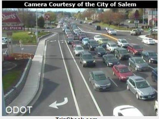 Car crash blocking eastbound traffic on Kuebler Blvd. SE and Commercial Street SE