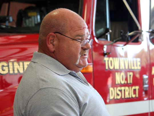 Townville Fire Chief Billy McAdams talks to news reporters at the town's fire department Thursday.