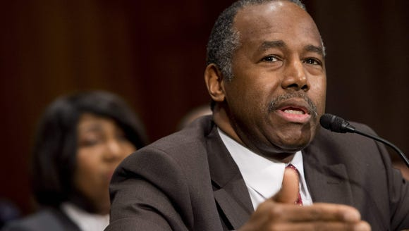 Ben Carson testifies during his confirmation hearing