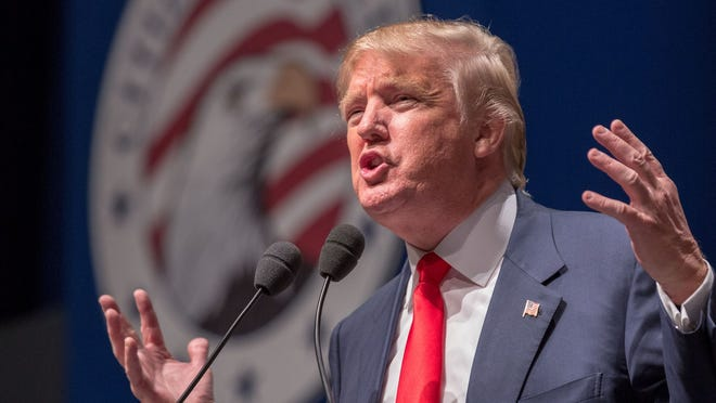 Donald Trump speaks during the Freedom Summit on May 9, 2015, in Greenville, South Carolina.