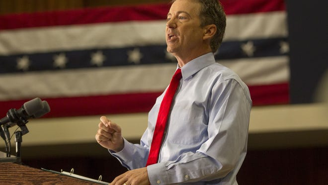Presidential candidate Rand Paul speaks at the Iowa Memorial Union in Iowa City on April 10, 2015.