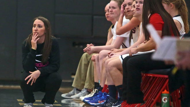 Eastchester girls basketball coach Lindsay Carr watches her team play Rye at Eastchester High School on Jan. 8. Rye won 59-50. This is Carr's first year as Eastchester's head coach.