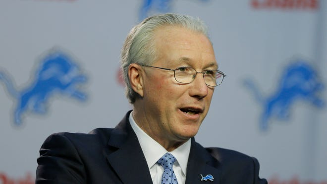 Detroit Lions president Rod Wood addresses the media, Friday, Nov. 20, 2015, in Allen Park.