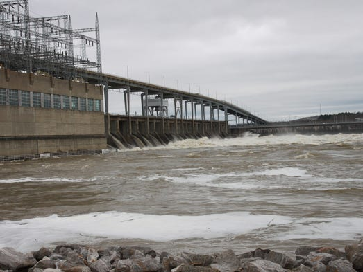 Water flows at the Pickwick Dam in Hardin County Tuesday.