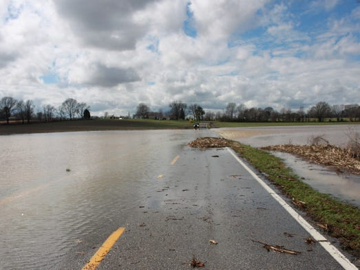Highway 445 was blocked with water between Greenfield