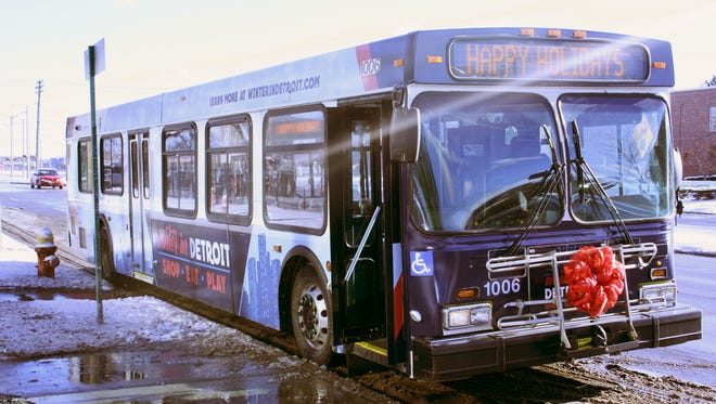 The Detroit Department of Transportation rolled out its holiday-themed buses on Tuesday, Dec. 12, 2017.