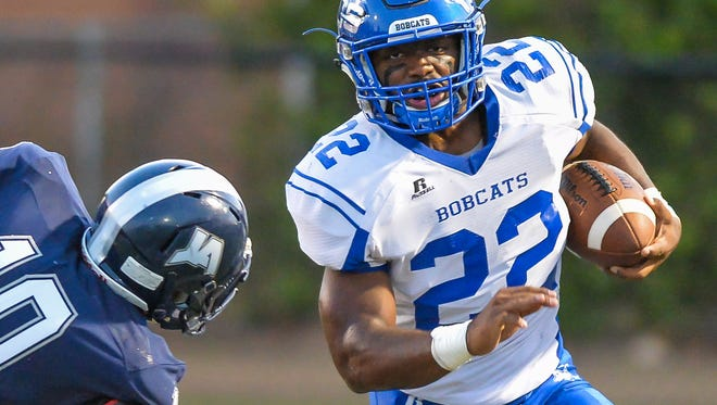 Presbyterian Christian's Isaiah Woullard (22) run's the ball against Jackson Academy during the game held at Raider Field in Jackson, Mississippi September 9th, 2016.(Bob Smith/For the Clarion Ledger)
