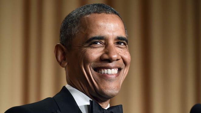 President Obama tells jokes during the White House Correspondents Association Dinner on May 3, 2014 in Washington.