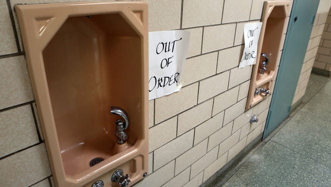 Out of order notices were taped near the drinking fountains at the Davis Elementary School in New Rochelle on May 5.
