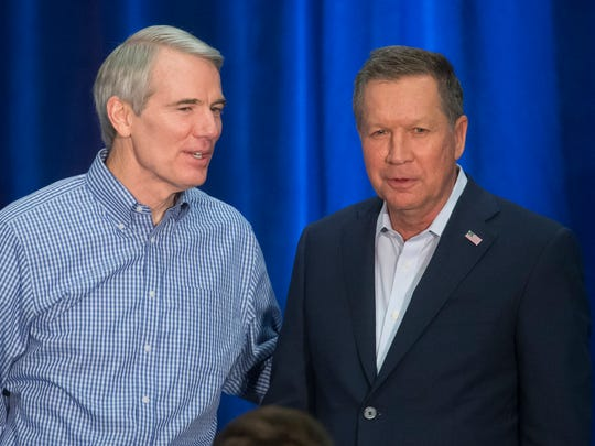 "Sen. Rob Portman and Ohio Gov. John Kasich, shown in this March 2016 file photo, both said they have ""concerns"" about the Senate health care bill's Medicaid phaseout. (AP Photo/John Minchillo)"
