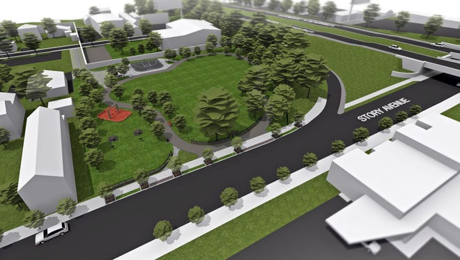 A rendering of the planned renovation at Story Avenue Park in Butchertown.
