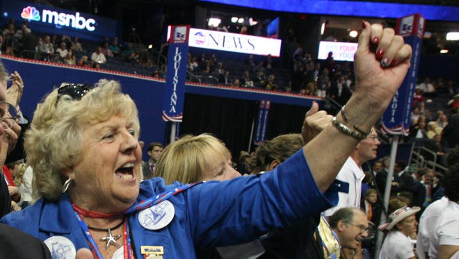 "Delaware GOP delegate Priscilla Rakestraw chants ""USA"" at the Republican National Convention in Tampa on Aug. 28, 2012. She attended 10 conventions."