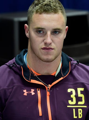 Mar 2, 2019; Indianapolis, IN, USA; Texas Christian linebacker Ty Summers (LB35) talks to the media during the 2019 NFL Combine at Indianapolis Convention Center. Mandatory Credit: Thomas J. Russo-USA TODAY Sports