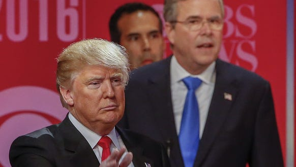 Donald Trump and former Florida Gov. Jeb Bush at the