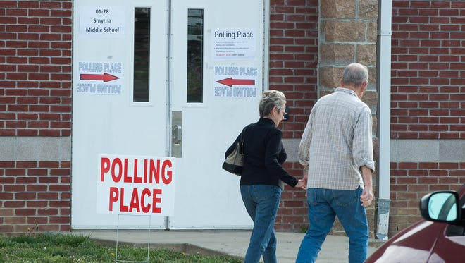 Voters enter the polling station at Smyrna Middle School during the primary election on Tuesday. Donald Trump won the Delaware primary.