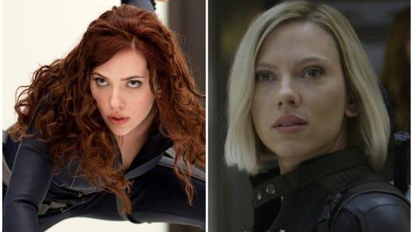 "Left: Black Widow in 2010's ""Iron Man 2."" Right: Black"