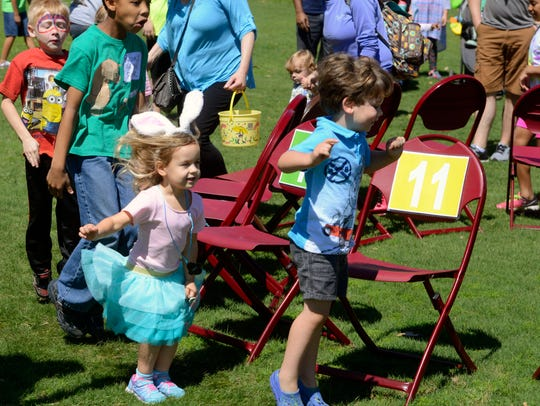 Kids play the Bunny Hop Cake Walk at last year's city of Pensacola Parks and Recreation Department's Easter Egg Hunt at the Roger Scott Athletic Complex. The fun gets underway at 10 a.m. Saturday.