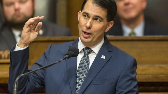 Gov. Scott Walker delivers his state of the state address to a joint session of the Legislature on Jan. 10 in Madison.