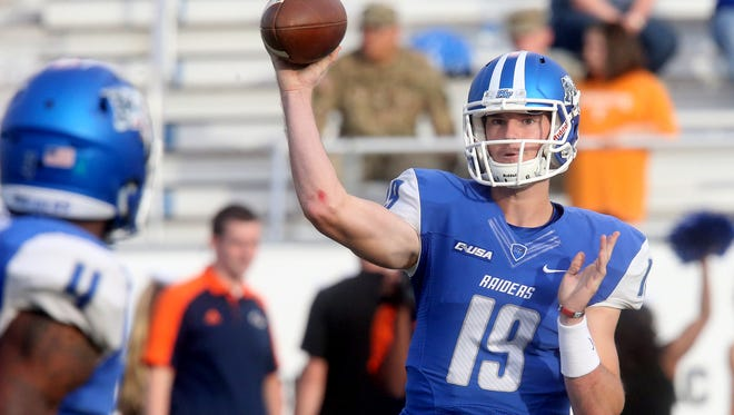MTSU's backup quarterback John Urzua (19) will enter the second start of his college football career with three touchdowns and six interceptions.
