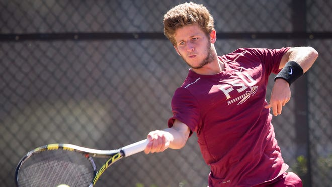 Florida State redshirt junior Lucas Poullain drives through a forehand during the Seminoles 4-2 victory over Virginia Tech on April 21st at the Scott Speicher Tennis Center.