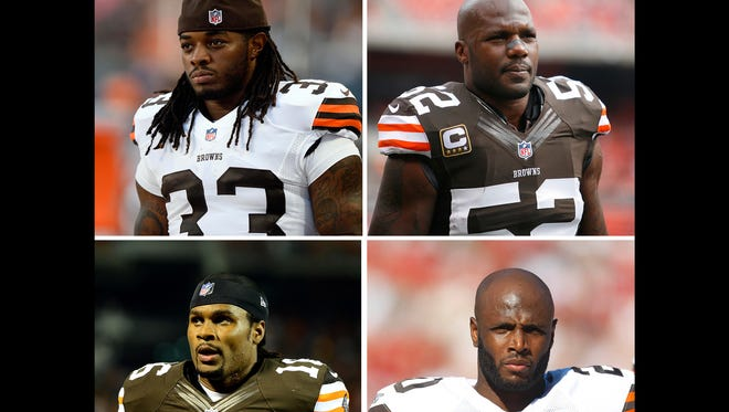 Four current Colts played for the Browns: Trent Richardson (top left), D'Qwell Jackson (top right), Josh Cribbs (bottom left), Mike Adams (bottom right).