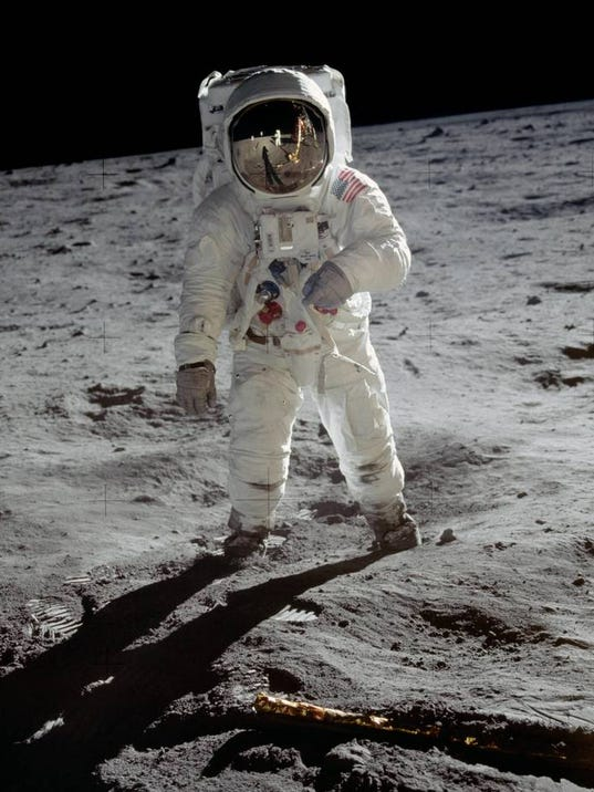 Iconic image of Buzz Aldrin