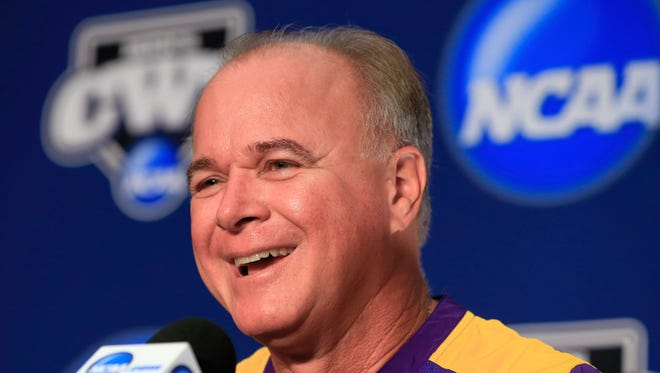 LSU coach Paul Mainieri speaks during a coaches news conference on Friday in Omaha, Neb. prior to the start of the College World Series.