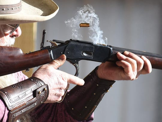 "Dave Strong, also known as ""Dirty Dave"", shoots original firearms during an Old West Shoot on Sunday, Jan. 18, 2015, at Albany Rifle and Pistol Club."