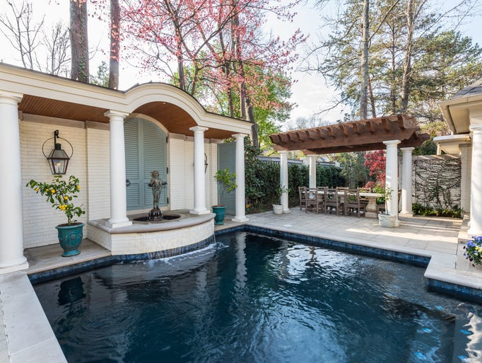 The cabana is designed to mimic the look of a pool