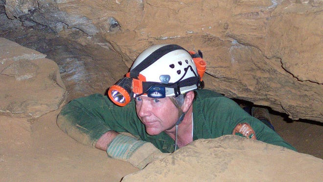Kevin Neff exiting the Snake Pit Alley portion of Mammoth Cave.
