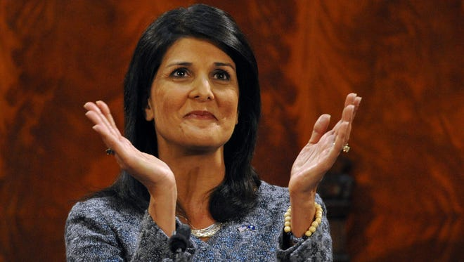South Carolina Gov. Nikki Haley last month applauds members of the gallery as she delivers her State of the State address to the state legislature.