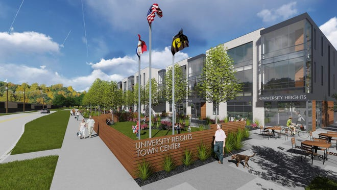 A design rendering of One University Place, the proposed $39.3-million commercial and residential development along Melrose Avenue in University Heights.