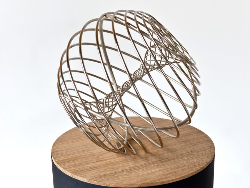The Breakthrough Prize trophy, created by sculptor Olafur Eliasson.