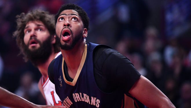 New Orleans Pelicans forward Anthony Davis (23) during the first half against Chicago Bulls center Robin Lopez (8) at the United Center.